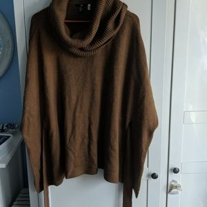 Front tie cowl neck poncho style sweater